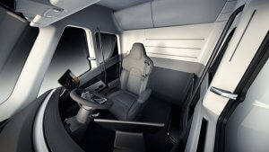 Unlike most Statustrucks' rigs, the Tesla Interior cab seat is centered Owner Operator Trucking