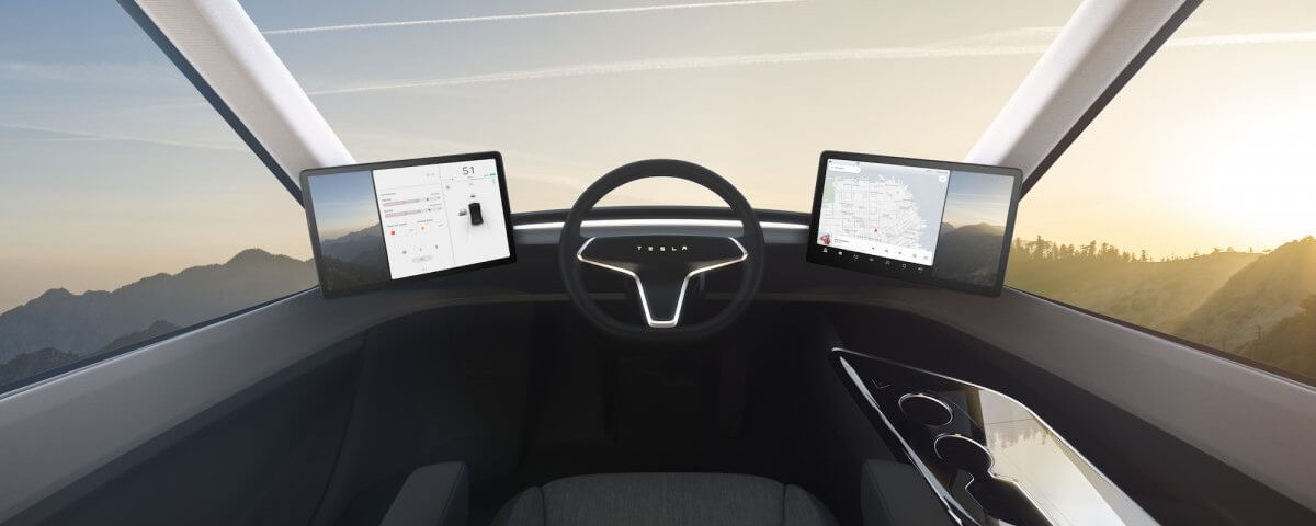 Tesla Semi Truck Inside Cab seat is centered Owner Operator Trucking